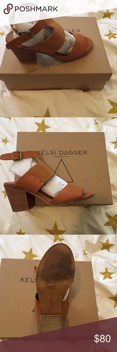 Kelsi Dagger Kary Sandal These are a pair of leather and suede Kelsi Dagger sandal heels. Worn only once and in excellent condition. Selling because I've only worn them once and I don't wear heels much. Comes with box and comes from smoke free, pet free home. Kelsi Dagger Shoes Sandals