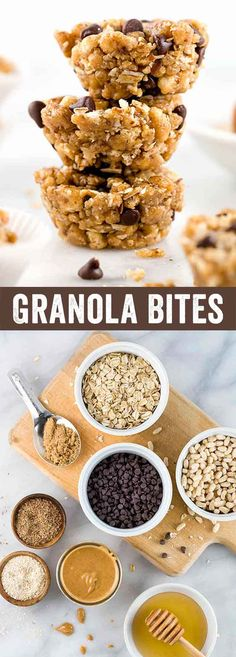 No-Bake granola bites with peanut butter and chocolate chips are a quick healthy homemade snack! This recipe has oats, bran & flaxseed for an energy boost.