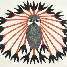 Majestic Owl (2011) by Kenojuak Ashevak, Inuit artist (CD2011-09)