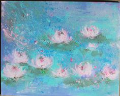 original waterlily shabby floral blue pink painting by fadedwest,