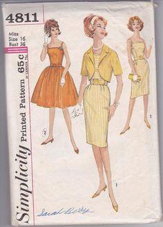 60s Evening Day Dress Full Slim Wiggle Skirt Bolero Shoulder Straps Belt Size 16 Bust 36 Vintage Sewing Pattern Simplicity 4811 Complete