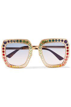 Gucci   Crystal-embellished square-frame gold-tone sunglasses   NET-A-PORTER.COM