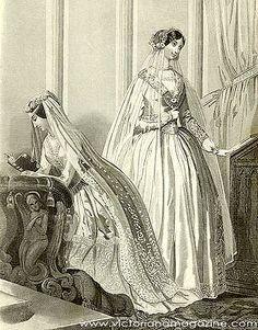 Two Victorian wedding dresses from September 1850. Both brides wear elegant floral veils.