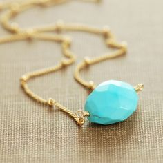Turquoise Gold Necklace Sleeping Beauty Turquoise by aubepine, $62.00