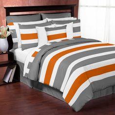 Wonderful Product Image For Sweet Jojo Designs Grey And Orange Stripe Comforter Set