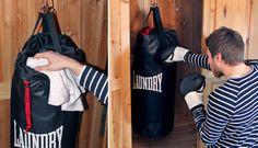 Punch Bag Laundry Bag. Punch Bag Laundry Bag è una borsa della lavanderia che si trasforma, quando è piena di vestiti da lavare, in un sacco da pugilato con il quale allenarsi. Via likecool.com
