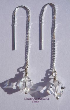 ♥ We adore these earrings - so easy to wear ♥ Handmade Handcrafted Hand wire wrapped CLEAR 8mm size Bicone Crystal Pull Through Thread Threader .925 Sterling Silver Fine Box Chain Earrings made with Swarovski Elements crystals + Gift Box & Organza Gift Bag ~ by Christine & Francesca Designs ---- #handmade #handcrafted #jewellery #pull #through #earrings #dangle #bridal #bridesmaid