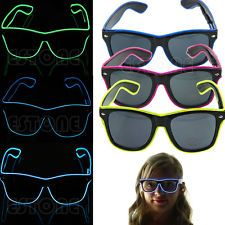 1pc Rave Costume Party KTV LED Light Up EL Wire Sunglass Glasses for Boy Girl