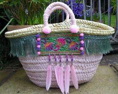 Childrens Beach Basket Embellished Bag Shopping Basket by MariZoli