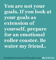 You are not your goals. If you look at your goals as extension of yourself, prepare for an emotional roller coaster. Be water my friend..