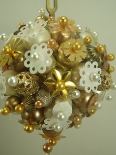 FUNKY Ball and Chain Shiny Gold -White BEADED Christmas Ornament.