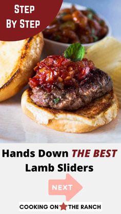 Other Meat Recipes, Lamb Recipes, Burger Recipes, Food N, Food And Drink, Lamb Sliders, Meat Sandwich, Slider Buns, Slider Recipes