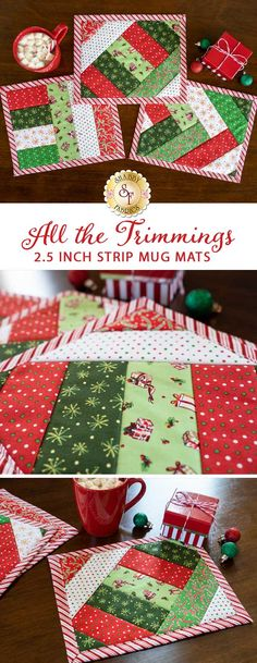 "Add a little Christmas cheer with these 3 adorable All the Trimmings Mug Mats this season! They come together easily with the Quilt-As-You-Go pre-printed batting from June Tailor. Each Kit Makes 3 (as shown).  Each mat finishes to approximately 8½"" x 10½"".  This Kit Includes: - All Fabrics for Top, Backing, and Binding - Makes 3 Mats - Quilt As You Go 2-1/2"" Strip Mug Mat Batting"