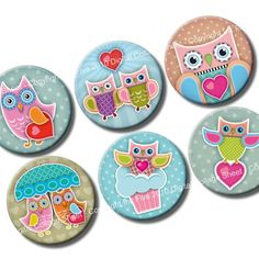 Owls in Love 1 x 1 inch circles Valentines Digital by InkFive, $4.20