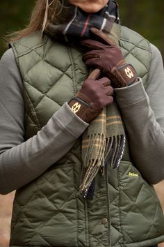 Barbour vest and tartan scark with MACWET Aquatec Gloves