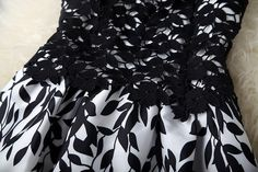 black and white leaf print dress - Pesquisa Google