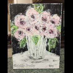Original modern abstract floral painting on a 9x12 gallery wrapped canvas.