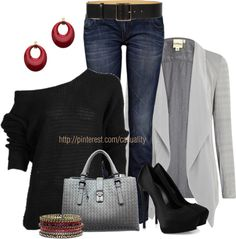 """""""Knit Sweater & Emporium MOD Earrings"""" by casuality ❤ liked on Polyvore"""