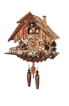 -Elaborately decorated Black Forest framework house  -The dancing couples turn to the music  -The train drives through the tunnel  -solid wooden housing  -rich in detail  -lightsensor for automatic night-shut-off  -12 different melodies  -needs 3 standard C Size batteries  -Hight: 36cm (only case,without pendel and weights)  -Width: 38cm  -Depth: 19cm  -made in the Black-Forest (Germany)  -2 Year Guarantee