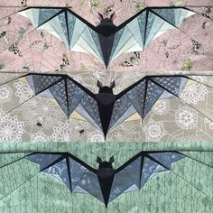 I've now made all three bat sizes, and I'm loving them all—but next, on to other Halloween-y blocks! Halloween Quilt Patterns, Halloween Quilts, Quilting Projects, Quilting Designs, Mini Quilts, Baby Quilts, Asian Quilts, Fall Sewing, Patchwork Quilt Patterns