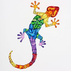 Rainbow Gecko from video. #johannabasford #magicaljungle #carandache #luminance #slicci #metallicgelpen #coloring #coloringforadults #adultcoloring #coloringbook