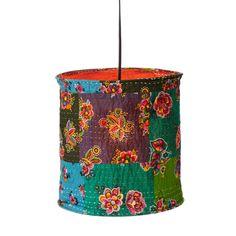 KANTHA PENDANT LAMP | fabric lamp shade, kantha stitching, India | $48