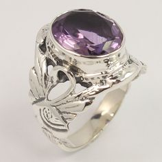 Handmade Ring Size US 6.75 Natural AMETHYST Gemstone 925 Sterling Silver Jewelry #Unbranded