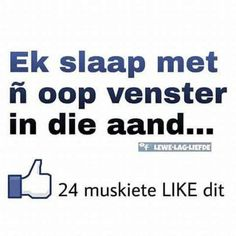 Ek slaap in die aand met n oop venster. 24 muskiete like dit Baile Hip Hop, Best Quotes, Funny Quotes, Afrikaanse Quotes, Fb Like, Goeie Nag, Laugh At Yourself, Twisted Humor, Just For Laughs