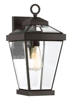 Quoizel Rav8408 Ravine Single Light 16 Tall Outdoor Lantern Style Wall Sconce Western Bronze