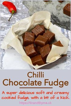 Make your own edible gifts with this recipe for smooth and creamy chilli chocolate fudge. It's so good though, you might just want to keep it all to yourself. It combines the richness of dark chocolate with the unctuous mouthfeel of cream followed by a warm afterglow from the chilli. #TinandThyme #EdibleGift #ChristmasRecipe #ChocolateFudge #FudgeRecipe Healthy Cake Recipes, Dump Cake Recipes, Homemade Cake Recipes, Homemade Candies, Fudge Recipes, Sweets Recipes, Fun Desserts, Delicious Desserts, Homemade Gifts