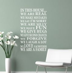 Wall Decal In This HouseWe are Family  Vinyl by JustTheFrosting, $25.00      I like this saying. I think it would be pretty framed.