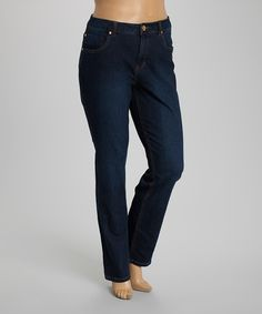 This Dark Wash Sade Straight-Leg Jeans - Plus by Liverpool Jeans Company is perfect! #zulilyfinds