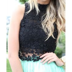 Stylish Turtle Neck Sleeveless Flower Pattern Solid Color Lace Women's Blouse