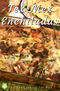 Tex-Mex Enchiladas – cheese, green onions, soft corn tortilla smothered in a sauce of cumin, oregano, chili powder and spices, totally satisfying comfort food!