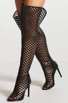 2c844cb7822 Forever 21 Thigh-High Caged Cutout Boots Cutout Boots
