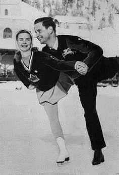 Barbara-Ann Scott of Canada and Hans Gerschwiler of Switzerland practice pairs figure skating at the 1948 Winter Olympics in St. Moritz, Switzerland.