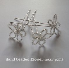 DIY Tutorial: Hand-beaded Flower Hair Pins