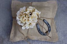 Large Burlap Ring Pillow With Horseshoe and Hydrangea by sweetcs, $30.00