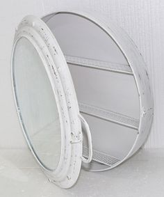 Another great find on #zulily! White Metal Porthole Mirror Cabinet #zulilyfinds