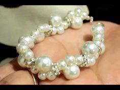 Como hacer una Pulsera de Perlas con Tejido : Pekas Creaciones - YouTube