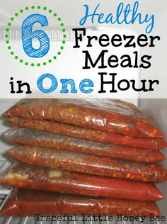 Learn how to make 6 frugal and healthy ground beef freezer meals in one hour! via @honeybeegrace