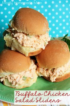 Buffalo Chicken Salad Sliders - Typical chicken salad gets kicked up a notch with buffalo hot wing sauce, diced celery, and seasonings. These are awesome for lunch, dinner, and make amazing party appetizers, too!