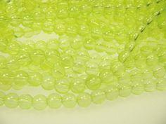 40 Glasperlen 8 mm in hellem leuchtendem gelb,schmuck aus Perlen basteln