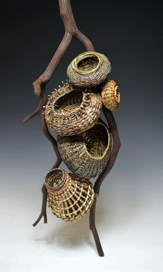 Matt Tommey designs sculptural pieces for elegant home decor, including fireplace mantel sculptures, wall hangings, single baskets and collections with multiple pieces. Contemporary Baskets, Modern Baskets, Bountiful Baskets, Pine Needle Baskets, Basket Crafts, Copper Art, Pine Needles, Basket Bag, Weaving Art