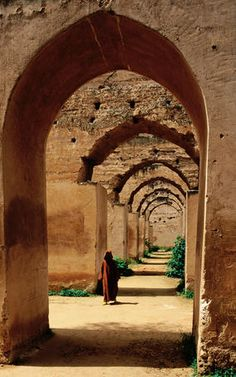 archways of old granary in Meknes, Morocco