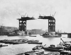 The construction of Tower Bridge, London, which was completed in 1894.