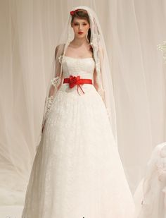 Timeless red and white wedding dresses