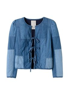 Rebecca Taylor Indigo Chambray Jacket. This quilted patchwork chambray jacket from La Vie Rebecca Taylor features a unique tie front, subtle puff sleeves and full lining. Fit: The size small model is wearing a size small. This jacket runs true to size. Care: Machine wash in cold water with like colors. Tumble dry on low. Fabrication: Shell & Lining - 100% Cotton, Batting - 100% Poly Color: Indigo Origin: Imported.