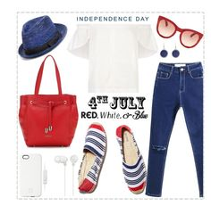 """Red, White and Blue Fashion"" by louise-frierson ❤ liked on Polyvore featuring Lucille, Soludos, John Varvatos * U.S.A., Smith Optics, SnapLight, Sony, redwhiteandblue and july4th"
