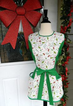 Christmas Smock Apron  Holly Leaf Print and Green by DrapesofWrath, $35.00
